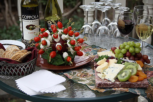 wine and cheese at napa valley bed and breakfast inn, hennessey house