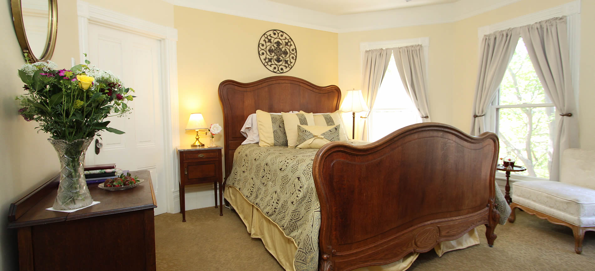 dream sweet guest room with bed and dresser