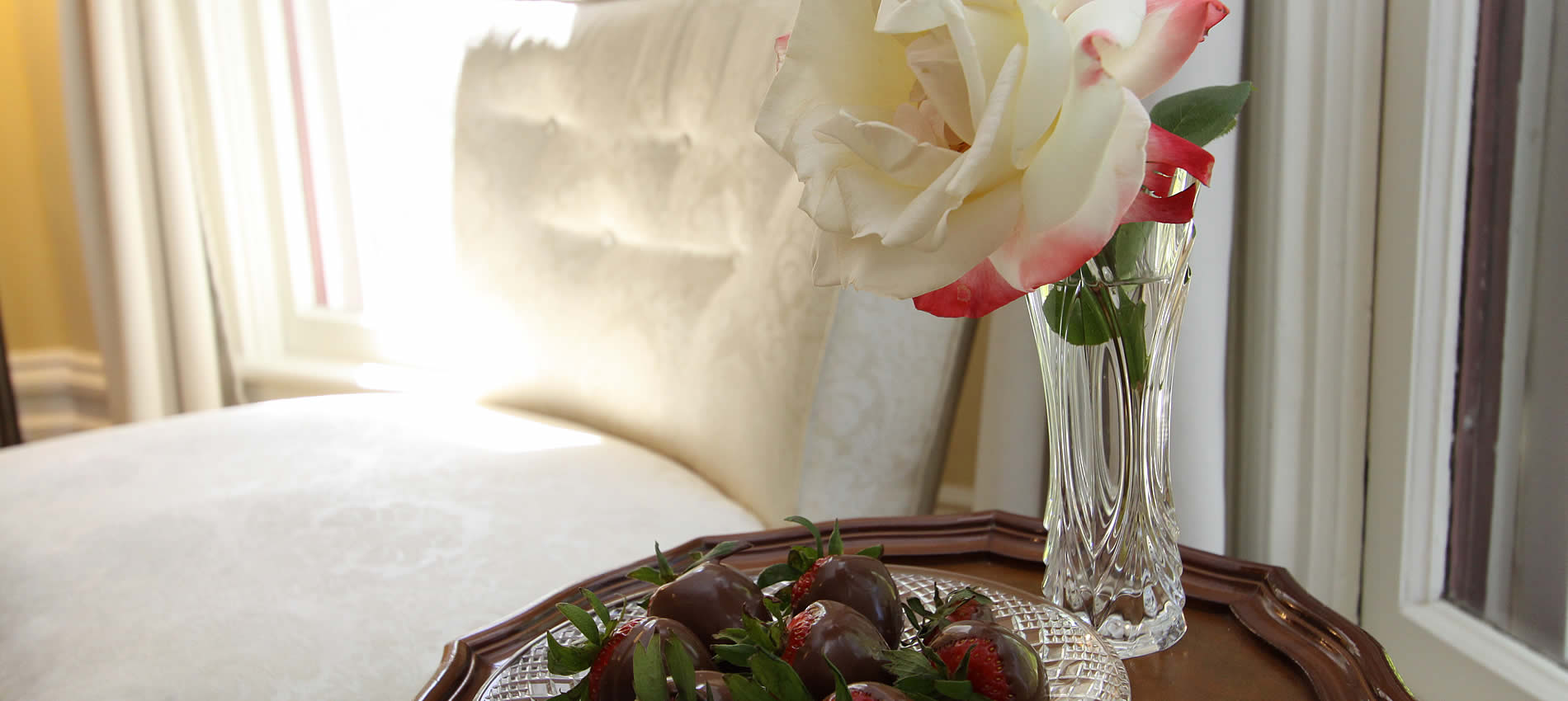 rose and chocolate covered strawberries