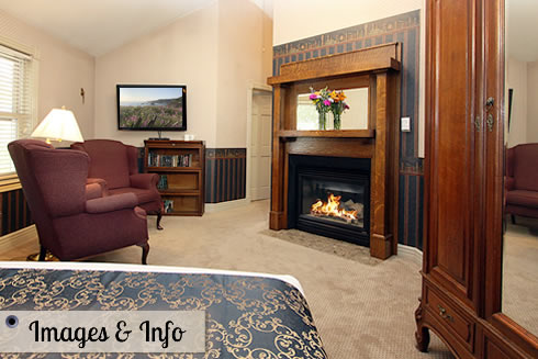 napa bed and breakfast guestroom with fireplace